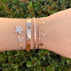 NEW Pave CZ Diamond Moon Star Cuff Bangle Bracelet